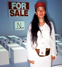 Arahmaiani  with her installation, Nation for Sale, at APT/2, 1996