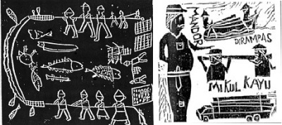 Left: Wahyudi, Grade 2, Brumbun villagers fishing; Right: Karyono, Grade 5, Timber Robbery (woodblock prints)