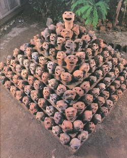 Dadang Christanto, Kekerasan 1 or Violence 1 Traditions / Tensions exhibition, 1996. Ceramic heads