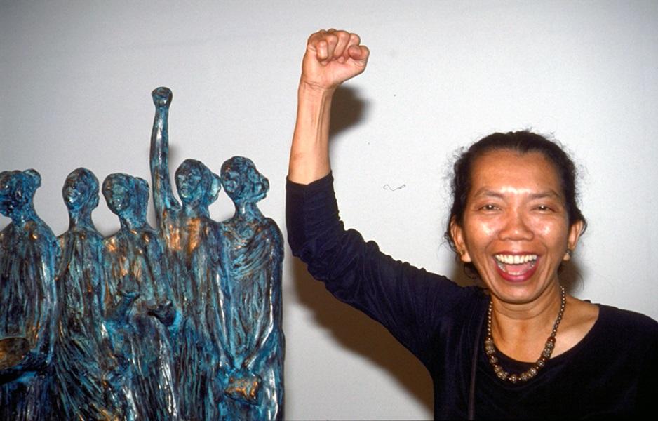 Dolorosa Sinaga at her retrospective exhibition at TIM, 2001