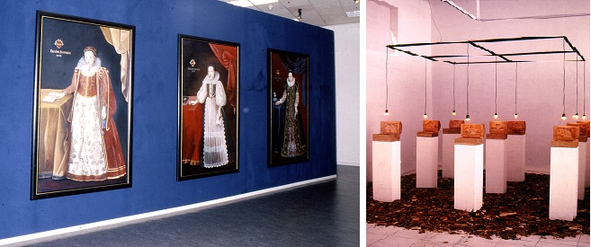 A mixed exhibition: Left: an installation by Erzsebet Baerveldt, '69', and Right: Anusapati, Preserve versus Exploit. Orientation Exhibition, 1995-6