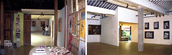 Interior of the new Cemeti gallery space with an exhibition by Popok Tri Wahyudi, Evil Lands, June 2000