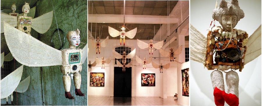 Flying Angels, Left, in the Chicago, USA, exhibition, Centre in the Galeri Nasional, Jakarta and Right detail from the exhibition in the Sherman Galleries, Sydney, Australia. Fibreglass, old clock parts, electronic parts, cotton, 10 figures.