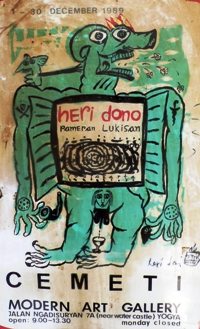 Poster for Heri Dono's exhibition at Cemeti, 1989