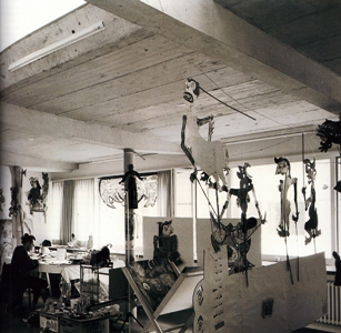 Heri Dono in his studio, Basil Residency, 1990-199