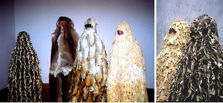 Mella Jaarsma, Hi Inlander (hello native) 1998-99. Installation of cloaks made from treated skins of fish, chicken, kangaroo and frog: Right: detail, Chicken and frogskin jilbabs. The frog skin jilbab was originally developed for the exhibition, Wearable, at Padi Galeri, Bandung, 1998. The work has been purchased by the Queensland Art Gallery