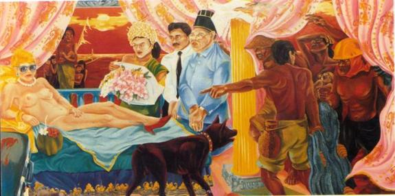 Semsar Siahaan, Olympia with Mother and Child, 1987