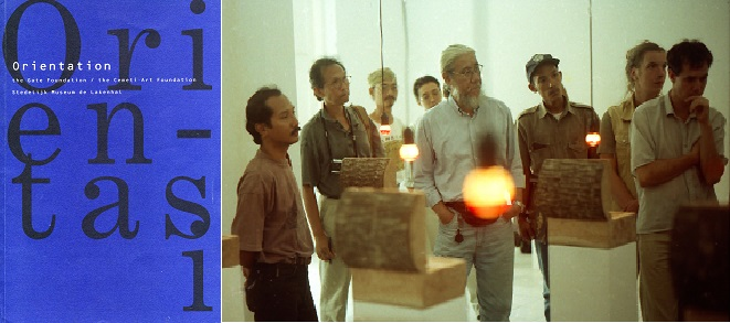 Left: Orientation catalogue; Right: installing the exhibition, here with the work by Anusapati. L - R: Anusapati, a journalist, Heri Dono, Yudhi Soerjoatmodjo, Jim Supangkat and three other unidentified people