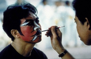 Harsono, face painting in preparation for the performance