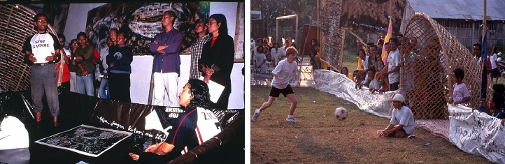 Tisna Sanjaya, Art and Soccer for Peace, 2000. Left: washing the feet in the gallery and Right: the soccer match with artworks around the field
