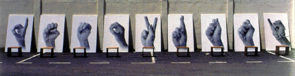 Harsono, Voice without a Voice/Sign, 1993-4, 9 panels, silkscreen on canvas,wooden stools