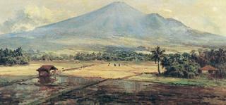 Abdullah Suriosubroto, Hamparan Sawah (A Spread of Ricefields), date unknown. The style Sudjojono referred to as mooie Indie