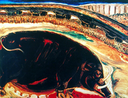 Djoko Pekik, Susu Raja Celeng (The Milk of the Wild Boar King), 1996. The boar is a barely disguised symbol for Suharto, who is now seen as a dangerous dictator by the people. The people are waiting to see what the boar will do.